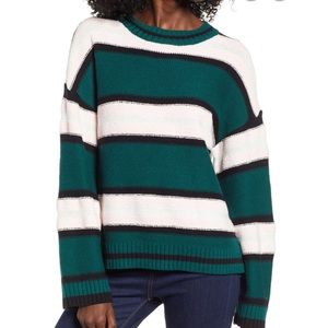 BP Striped Chenille Knit Jade Pink COZY Sweater S